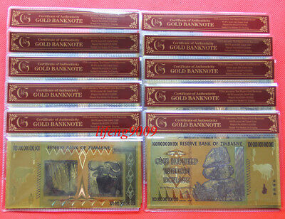 WR 10Pcs Zimbabwe 100 Trillion Dollars Banknote Color Gold Bill Derail in Sleeve