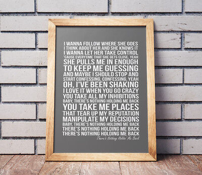 Shawn Mendes There's Nothing Holdin' Me Back Song Print Lyrics Poster -NO FRAME