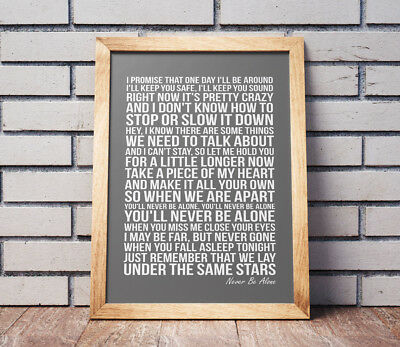 Shawn Mendes Never Be Alone Song Print - Lyrics Poster - Lyrics Art - NO FRAME