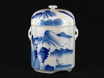 Antique Vintage Chinese Blue & White Two Lidded Ginger Jar Tea Caddy