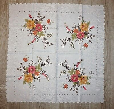 VTG Tablecloth  34x34  Scalloped Floral Sweet Shabby Chic Cottage