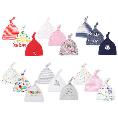 3 Pack Newborn Infant Baby Boys Girls Beanie Knot Hat Cotton Adjustable Cap