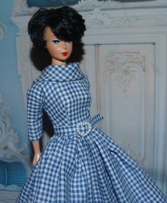 Blue & White Plaid Barbie Dress For Vintage Doll Reproduction Repro, hand