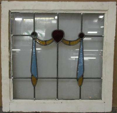 "OLD ENGLISH LEADED STAINED GLASS WINDOW Gorgeous Swag & Drops 20.5"" x 20.5"""