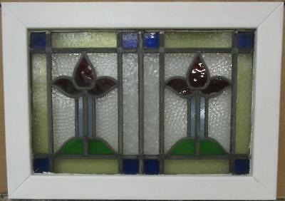 "MID SIZED OLD ENGLISH LEADED STAINED GLASS WINDOW Double Abstract 27"" x 19.25"""