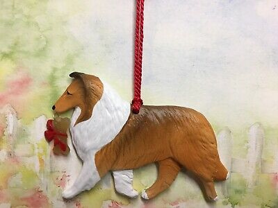Collie-rough-sable-with bone charm-Christmas/holiday dog breed ornament