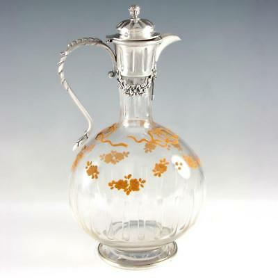 Antique French Sterling Silver Cut Crystal Glass Decanter Claret Jug