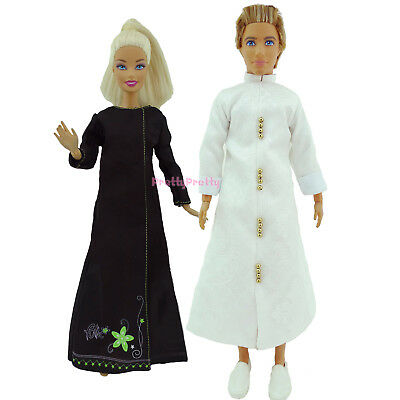 2x Vintage Muslim White Robe Black Dress Outfit Clothes For 12 in. Ken Girl Doll
