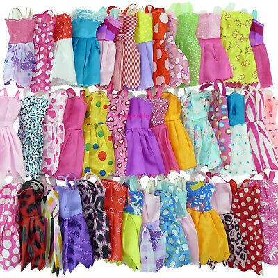 10 Mini Dresses + 6 Necklace + 4 Glasses Accessory Clothes For 12 in. Doll Gift