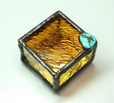 """Vintage Handmade Leaded Stained Glass Trinket Box Turquoise Stone 2 1/8"""" Square"""