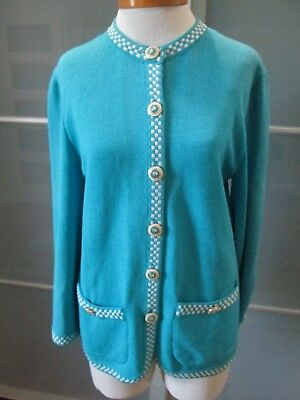 St. John Collection by Marie Gray Santana Knit Powder Blue Jacket / Blazer Sz 8