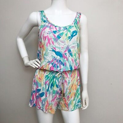 33230e8b053e9d Lilly Pulitzer Romper Jumpsuit Shorts Tropical Floral Flowers Size Small