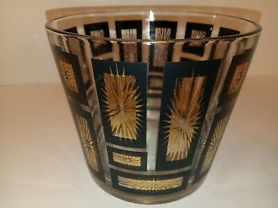 MCM Atomic Starburst Gold and Black Ice Bucket Mid-Century