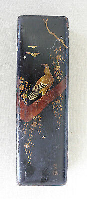 Japan Antique Japanese Lacquer Bird Flora  Wooden Box Hand Painted Signed