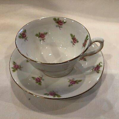 Vintage Adderley Bone China tea cup and saucer Lawley 333 white purple violets