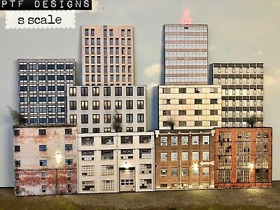 "S Scale Scratch Built Up -""10 City Building Flats 3D Collage"" Backdrop New"