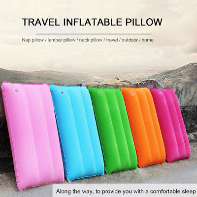 Inflatable Travel PVC Pillow Compact Cushion Camping Flight Neck Support DKE