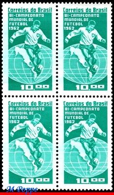 949-Q Brazil 1963 World Cup, Brazil Champion 1962, Soccer Football, Block Mnh