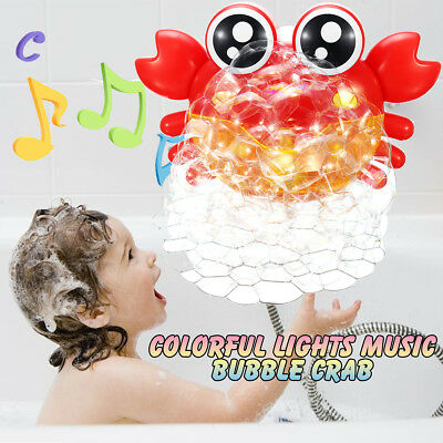 Colorful Light Crab Bubble Maker Tub LED light Bathroom Baby Toy Shower Time
