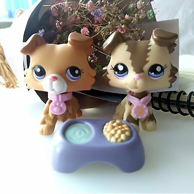 2x Littlest Pet Shop LPS  Collie Dog #2452 #2210 & Accessories Authentic Rare