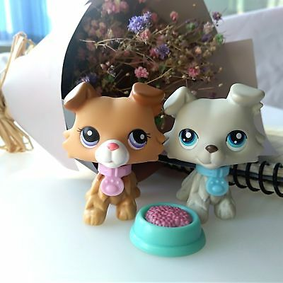 2 Lot Littlest Pet Shop LPS Collie Dog #2452 #363 & Accessories Authentic Rare