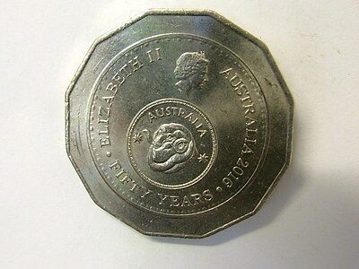 2016 Australian 50 Cent Coin -2515 Fifty Year Decimal Currency