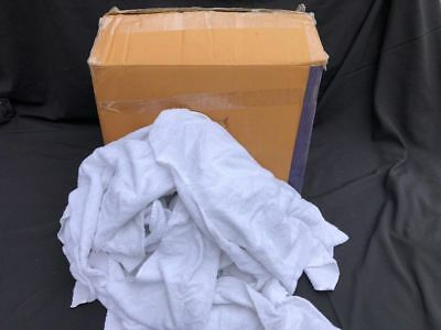10kg(net) BOX OF CUT WHITE 100% COTTON TOWELLING RAGS