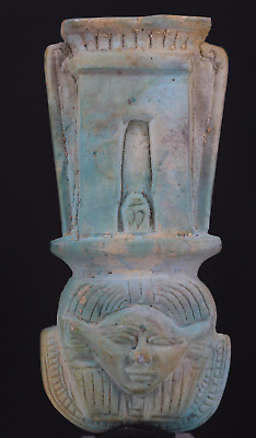 Egyptian glazed statue of Hator with temple symbol 9,1 cm.