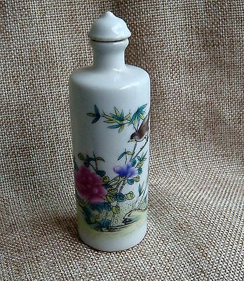 Exquisite Antique Chinese Porcelain Handmade Painting Flower Bid Snuff Bottle