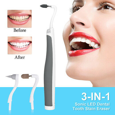 3 in 1 Teeth Cleaning Kit Polish Whitening Tools 3 Heads Brush Stain Remover
