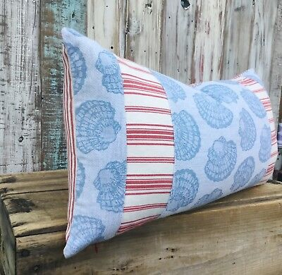 Vintage sea shell nautical tablecloth pillow cover - seaside cottage chic