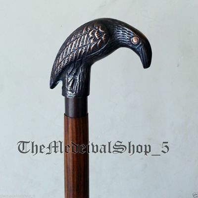 Solid Wood Brass Antique Designer Walking Cane Victorian Vintage Walking Stick