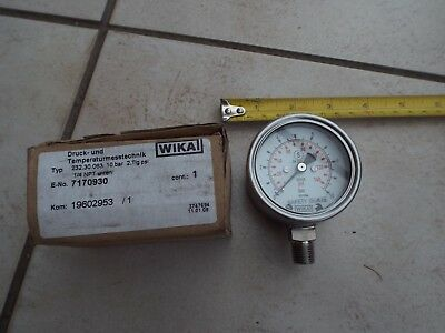 Wika Pressure Dial Gauge 10 Bar / 140 Psi / 232.30.063