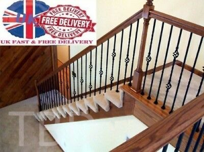 5 X Balusters/balastrade/spindles/staircase Wrought Iron Bespoke Black Finish