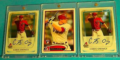 2ct. 2011 BOWMAN CHROME > CHRIS OWINGS (RC's) + 1ct. 2011 Topps Update (RC)