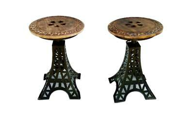 Beautiful Pair Of 2 Nightstand With Eiffel Tower Pattern Made Of Iron and Wood