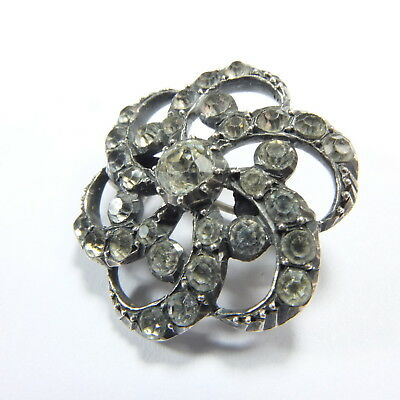 Beautiful Rare Antique Georgian Silver & Diamond Paste Swirl / Flower Brooch