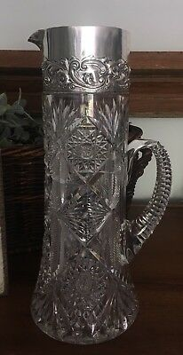 Dominick & Haff Sterling Silver ABC Brilliant Cut Glass Pitcher