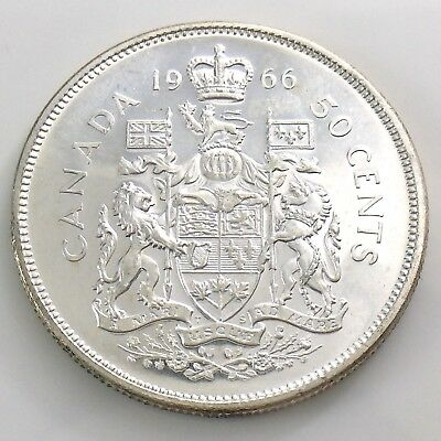 1966 Canada 50 Fifty Cent Half Dollar Silver Brilliant Uncirculated Coin I214