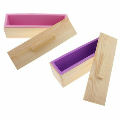 1X(DIY Handmade Soap Silicone Mold - rectangular soap mold with wooden box A8T4