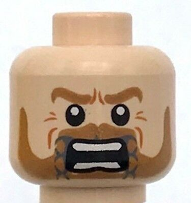 Lego New Pearl Gold King Minifigure Head Dual Sided Beard with Stylized Face