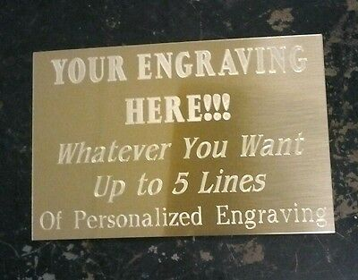Engraved Gold Brass Plate, pick size & wording, engraving plaque, award, trophy