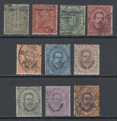 Eritrea 1-10 Used 1892 Stamps of Italy Overprinted Colonia Eritrea  SCV $334.50