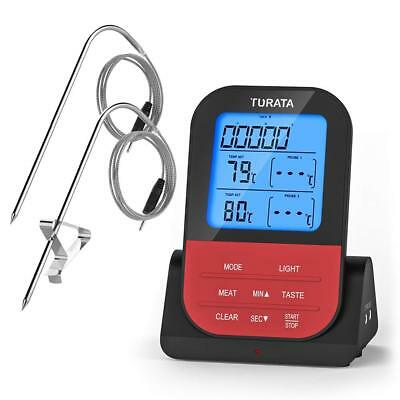 Meat Thermometer, Remote Digital Wireless Food Thermometer with Dual Prob