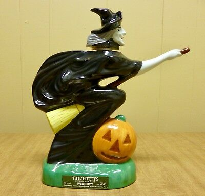 Michter's Whiskey Halloween Witch on Broom Decanter Bottle ~ As Is Read