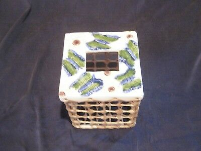 Hand Woven Tissue Box & Bathroom Accessory Set * Raffia & Ceramic * Butterflies