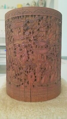 Antique Chinese fine carved Bamboo Brush Pot BITONG? LATE 1700s
