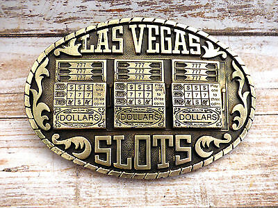 Las Vegas Slot Machines Brass Vintage 1983 Indiana Metal Craft Belt Buckle