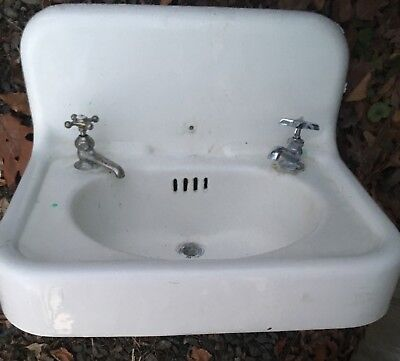 antique cast iron porcelain sink 1920's