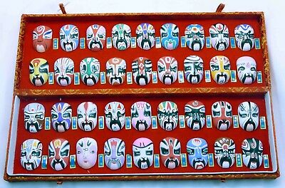 Set of 36 Hand Painted Chinese (Beijing) Opera Facial Makeup Miniature Masks Box